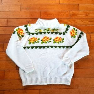 Vintage Lady Casual Flower Pull Over Knit Large